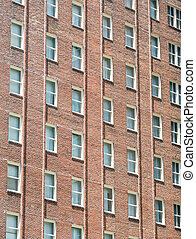 Windows on Red Brick Apartment Building