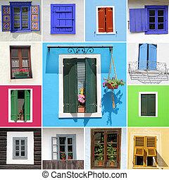 windows, paese, colorito, collezione