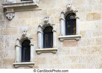 windows, parete, pietra, vecchio