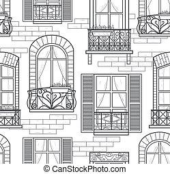 windows, patrón, seamless