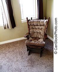 windows, prossimo, grande, casa, sedia dondolo