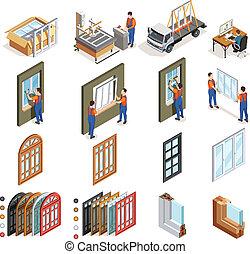 windows, pvc, iconos, isométrico, producción