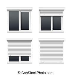 windows, rimbombante, set, otturatori, vettore