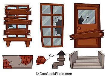 windows, rotto, bianco, porta