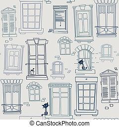 windows, seamless, modello