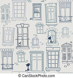 windows, seamless pattern - Seamless pattern with different...