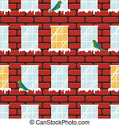 Windows seamless vector pattern and red brick wall building.