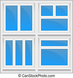 Windows - Set of windows with sills, vector eps10...