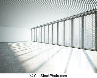 windows., stort, framförande, inre, vit, 3