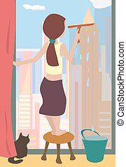 windows, takarítás, karikatúra