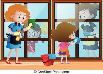 windows, takarítónők, gyerekek, ételadag, takarítás