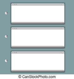 windows, tre, creativo, fondo, progresso, browser