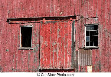 windows, vecchio, porta, granaio rosso