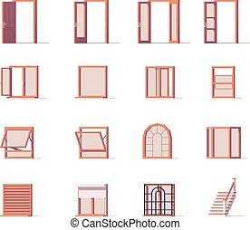 windows, vector, conjunto, puertas