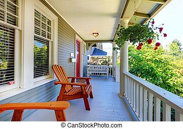 windows., veranda, casa, railings, grigio, due, fronte, ...