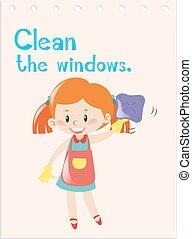 windows, verb, takarítás, akció, flashcard, leány