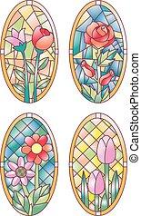 windows, vidrio, manchado, floral