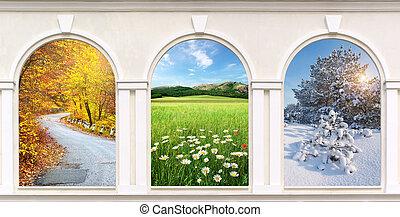 windows, von, jahreszeiten