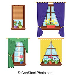 Windows with curtains and flowers. Vector set