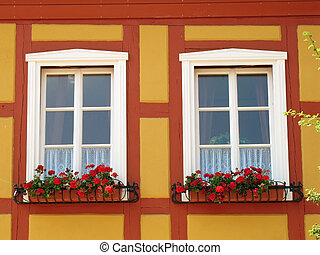 Windows with geranium in Mecklenburg-Western Pomerania,...