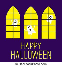 Windows with ghosts. Happy Halloween Card.