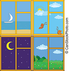 Set windows with landscapes: sea and ship, butterflies in the sky, moonlit night, flower meadow. Vector