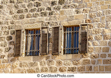 Windows with shutters in the Old City of Jerusalem, Israel