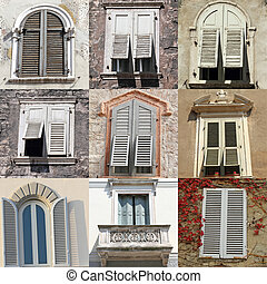 windows with white old shutters collection from Italy
