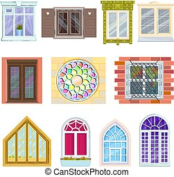 Windows with wooden and plastic frames made of glass and windowing vitrage vector illustration.