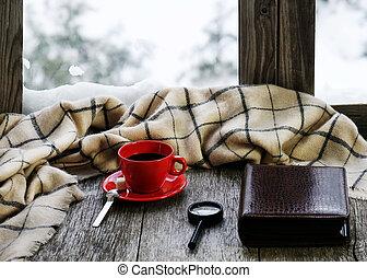 windowsill., taza para café, de madera, té, estilizado, o,...