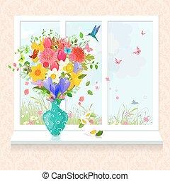 windowsill, vaas, regeling, glas, y, verse bloemen