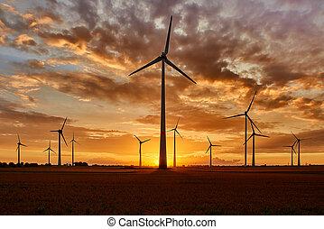 windpark, 日没