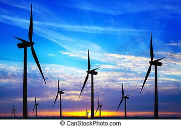 windpark, coucher soleil