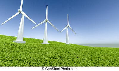 windpower, auf, a, feld