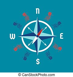 Vector clipart of nautical banner design sailor vector poster windrose design concept pronofoot35fo Choice Image