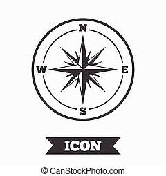 windrose, symbol., znak, busola, icon., nawigacja