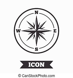 windrose, symbool., meldingsbord, kompas, icon., navigatie