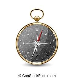 windrose, vue, vieux, noir, doré, template., blanc, réaliste, vecteur, 3d, antiquité, dial., isolé, vendange, devant, conception, compas, navigation, métal, concept., voyage, arrière-plan., icône, closeup