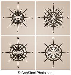 windroses, roses, ensemble, ou, compas