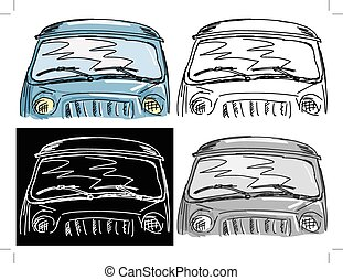windscreen - Editable vector illustrations in variations,...