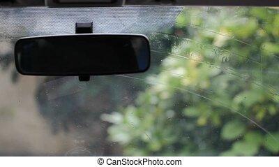 windscreen wipers - car interior view of windscreen wiper...