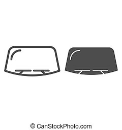 Windshield line and glyph icon. Car window vector illustration isolated on white. Windscreen outline style design, designed for web and app. Eps 10.