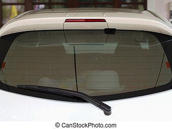 windshield wiper. Detail of windshield wiper at car show