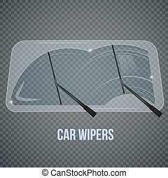 Windshield Wipers Realistic Composition - Car windscreen...