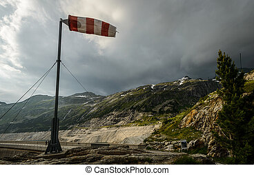 Windsock during strong wind in Alps.