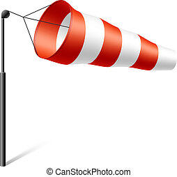 Windsock inflated by wind
