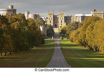 Windsor Castle seen along The Long Walk in Windsor Great...