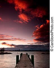 Windsor Dock at Sunset - A dock at McKee park in Windsor,...