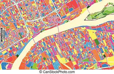 Windsor, Ontario, Canada, colorful vector map