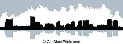 Windsor, Ontario Skyline - Skyline silhouette of the city of...